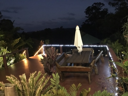 Deck at night.